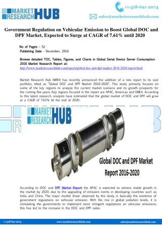 Government Regulation on Vehicular Emission to Boost Global DOC and DPF Market Report