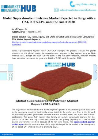 Global Superabsorbent Polymer Market Expected to Surge with a CAGR of 5.23%