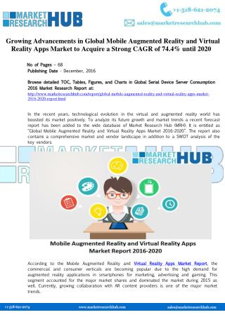 Global Mobile Augmented Reality and Virtual Reality Apps Market Increases with CAGR of 74.4%