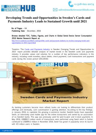 Developing Trends and Opportunities in Sweden's Cards and Payments Industry Market Report