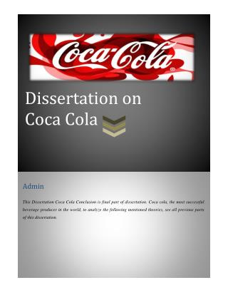 Dissertation on Coca Cola