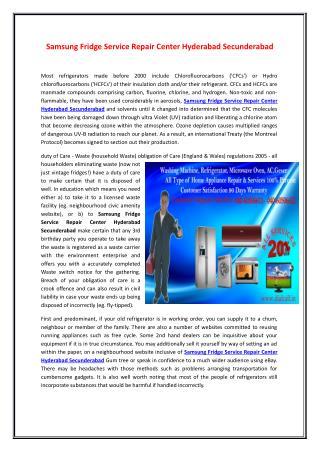 Samsung FridgeService Repair Center Hyderabad Secunderabad