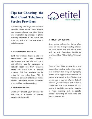 Tips for choosing the best cloud telephony service providers