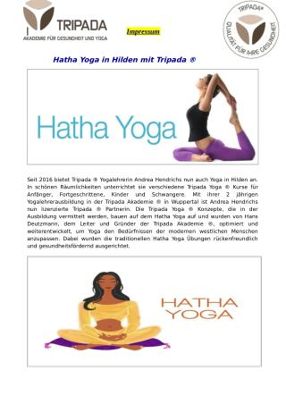 Hatha Yoga in Hilden mit Tripada ®