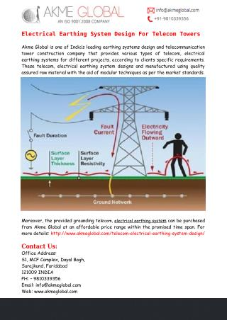 Electrical Earthing System Design For Telecom Towers - Akme Global