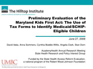Preliminary Evaluation of the Maryland Kids First Act: The Use of Tax Forms to Identify Medicaid