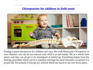Chiropractor for children in Gold coast