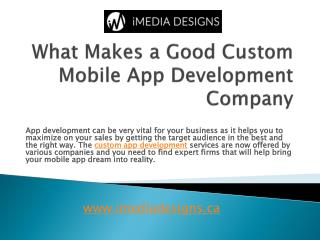 What Makes a Good Custom Mobile App Development Company