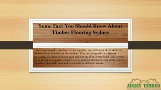 Some Fact You Should Know About Timber Flooring Sydney