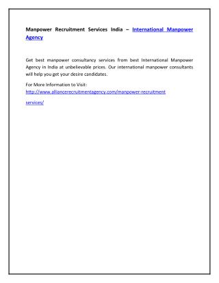 Manpower Recruitment Services India – International Manpower Agency
