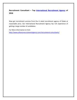 Recruitment Consultant – Top International Recruitment Agency of 2016