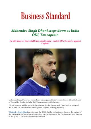 Mahendra Singh Dhoni steps down as India ODI, T20 captain