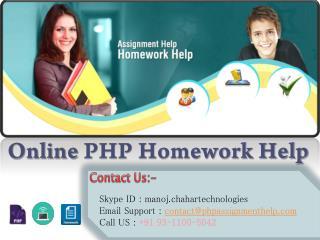 Online PHP Homework Help & Online PHP Tutor Help