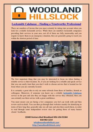 Locksmith Calabasas – Finding a Trustworthy Professional