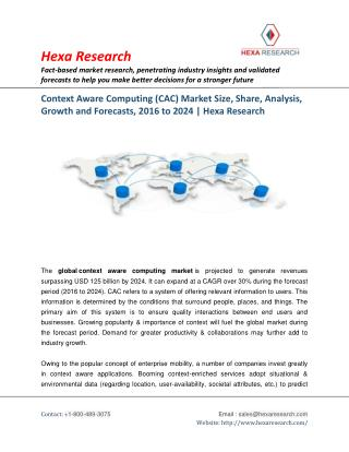 Context Aware Computing (CAC) Market Size | Industry Report, 2024 | Hexa Research