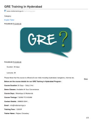 GRE TRAINING IN HYDERABAD
