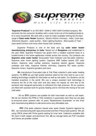 Supreme Solar Projects Pvt Ltd | Solar Water Heaters | Bengaluru