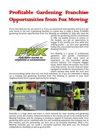 Profitable Gardening Franchise Opportunities from Fox Mowing