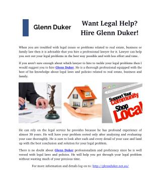 Want Legal Help? Hire Glenn Duker!