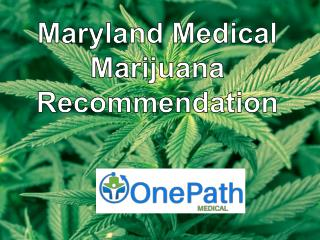 Maryland Medical Marijuana Recommendation