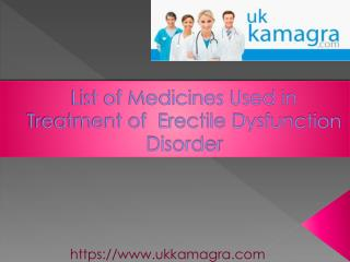 List of Medicines used in Erectle Dysfunction Treatment