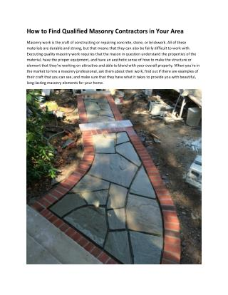 How to Find Qualified Masonry Contractors in Your Area