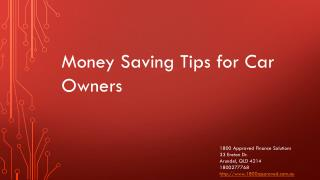 Money Saving Tips for Car Owners
