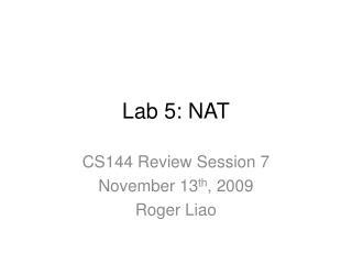 Lab 5: NAT