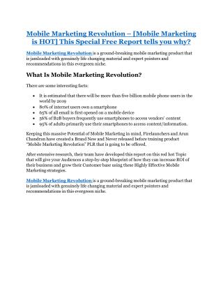 Mobile Marketing Revolution Review-TRUST about Mobile Marketing Revolution and 80% discount