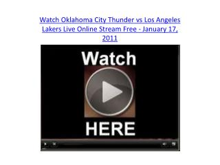 Watch Oklahoma City Thunder vs Los Angeles Lakers Live Onlin