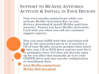 Support to McAfee Antivirus Activate & Install in Your Devices