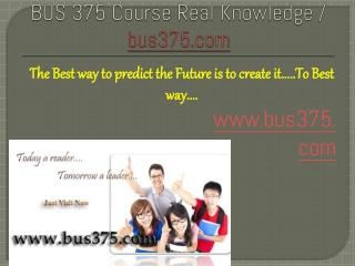 BUS 375 Course Real Knowledge / bus 375 dotcom