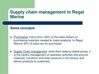 Supply chain management in Regal Marine