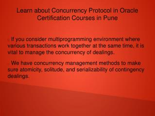 Learn about Concurrency Protocol in Oracle Certification Courses in Pune