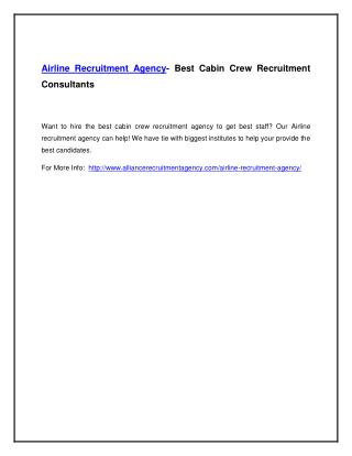 Airline Recruitment Agency- Best Cabin Crew Recruitment Consultants