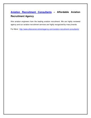 Aviation Recruitment Consultants – Affordable Aviation Recruitment Agency