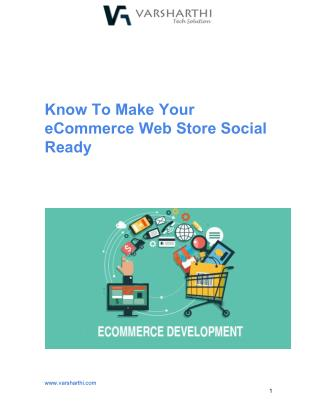 Know To Make Your eCommerce Web Store Social Ready