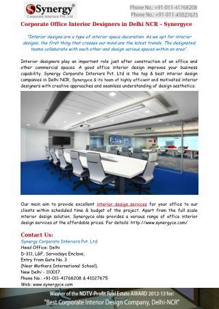 Corporate Office Interior Designers in Delhi NCR