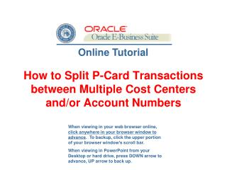 How to Split P-Card Transactions between Multiple Cost Centers and