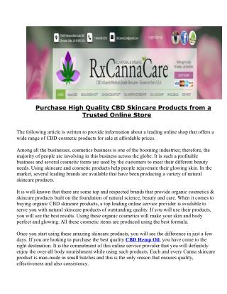 Purchase High Quality CBD Skincare Products from a Trusted Online Store
