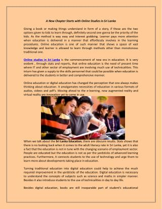 A New Chapter Starts with Online Studies in Sri Lanka