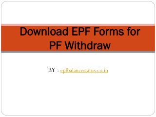 Employees Provident Fund form Download