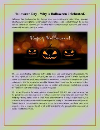 Halloween Day – Why is Halloween Celebrated?