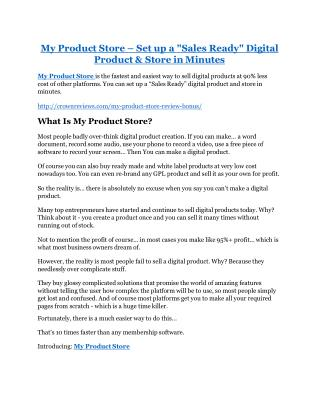 My Product Store Review - My Product Store DEMO & BONUS