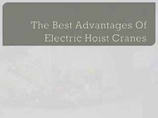 The Best Advantages Of Electric Hoist Cranes