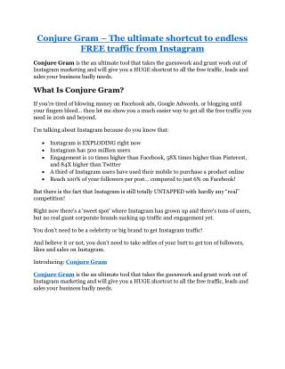 Conjura Gram review in detail and (FREE) $21400 bonus