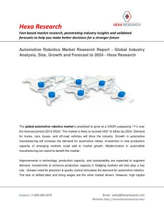 Automotive Robotics Market to surpass USD 16 Billion Till 2024 - Industry Analysis by Hexa Research