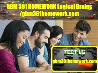 GBM 381 HOMEWORK Logical Brains /gbm381homework.com