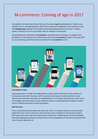 M-commerce: Coming of age in 2017