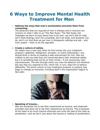 6 Ways to Improve Mental Health Treatment for Men